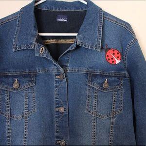 Basic Editions Ladybug Patch Denim Jacket